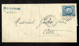 """FRANCE N°60 OBL GC 2240 + CAD """"Philippeville Bat A Vap"""" (1872) Sur Lettre De Bone Pour Cette (Salles N°497B), Ind 12. TB - Posta Marittima"""