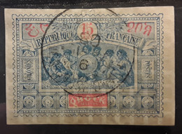 OBOCK 1894  Type Guerriers Somalis,  Yvert No 52, 15 C  Bleu Et Rouge   ,obl Cachet Central   TTB - Used Stamps