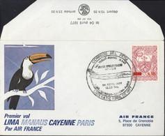 Pérou Premier Vol Lima Manaus Cayenne Paris Air France Toucan CAD Illustré Avion Correos Del Peru 4 4 1977 YT Péru 419 - Peru