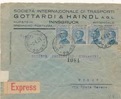 1924 ESPRESSO DA BRENNERO CERCHIO FRAZINARIO X MILANO AL VERSO COME CHIUDILETTERA FRANCOBOLLI INFLAZIONE AUSTRIA - Storia Postale