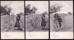 SERIE DE 6 X CARTE MONTEE - FILLETTE VOLE DES CERISES - GIRL STEELS CHERRIES - Fillette - 1903 !!! - Other