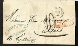 """FRANCE Lettre De Constantinople Pour Paris Avec CAD """"Borysthène"""" (1857) + Taxe 10 Tampon Façon Manuscrite Ind 15 TB. - Posta Marittima"""