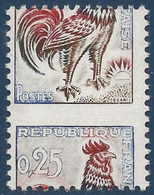 France 1962 Coq N°1331** Timbre De Carnet Couleurs Pales Et Piquage Très à Cheval !! - 1962-65 Coq De Decaris