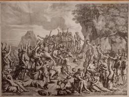 POUSSIN : Moïse Frappant Le Rocher   Cum Privilegio Cristiamssini ; Nicolaus Poussin Inuent Et Pinxit ; - Prints & Engravings