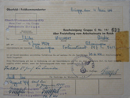 Cachet Stempel Oblitération Griffe Gemeente ALVERINGEM Kommandantur 570 Brugge Arbeiteinsatz Juni 1944 WO2 - Briefe U. Dokumente