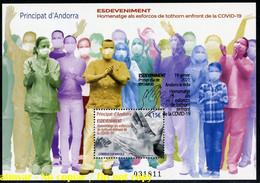 ANDORRA / ANDORRE (2021) Sheet Feuille FD - COVID-19 Gràcies Homenatge Esforços Tothom, Pandemic, Thanks Health Workers - Used Stamps