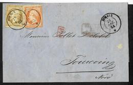 "FRANCE Lettre N°21 + 23 OBL Ancre + CAD ""Moeris"" (1864) (Salles N°799), Ind 26. Rare Et TB - Posta Marittima"