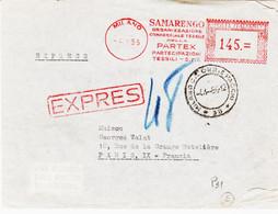 Italie , De  Milan , En 1955, Expres Pour La France   Pub Textiles  TB - Affrancature Meccaniche Rosse (EMA)