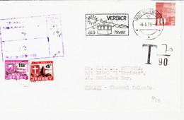 Suisse , De Verbier En 1979 Pour Jersey, Taxée Et Calcul De L'équivalence , Taxe Jersey  TB - Storia Postale