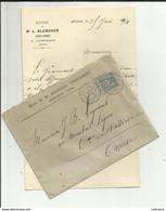 """23 AUBUSSON . ENVELOPPE ET CORRESPONDANCE . 1894 . ETUDE DE """" Me BLANCHON """". AVOUE LICENCIE . A Mr LEGRAND A VALLIERE - 1877-1920: Semi Modern Period"""