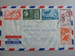 SARAWAK SUPERBE PLI POSTE AERIENNE POUR LA THAILANDE - Sarawak (...-1963)