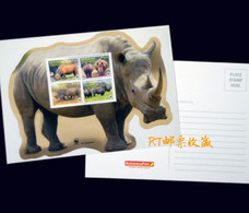 Botswana 2011 Postal Card Postcard WWF Southern White Rhinoceros Wildlife Wild Animals Fauna Nature W.W.F. Rhinos - Botswana