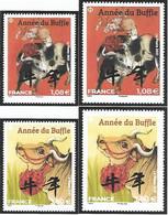 France 2021 - Nouvel An Chinois -  Année Du Buffle De Métal ** (2 Grds Et 2 Petits) - Nuevos