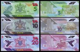 Trinidad And Tobago 5-10-20 Dollars, (2020), Polymer,AA Prefix, UNC - Trinidad & Tobago