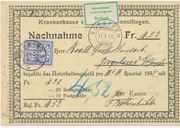 SCHWEIZ 1898 12 C. Kreuz (Zumstein 62B) Als EF A. NN ANNAHME VERWEIGERT STEMPEL! - Storia Postale