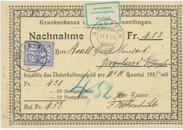 SCHWEIZ 1898 12 C. Kreuz (Zumstein 62B) Als EF A. NN ANNAHME VERWEIGERT STEMPEL! - Cartas