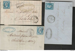 3 OBLI LGC  De L' ARIEGE, Foix, Lavelanet, Laroque D'Holmes TBE - 1862 Napoléon III.