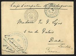 """Lettre Franchise CAD """"Corps Expre Madagascar LU N°1""""+cachet """"Conseil De Guerre De Diegi-Suarez Le Commissaire Rapporteur - Posta Marittima"""