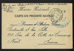 """Carte Postale FM De Priorité Navale Avec CAD """"Poste Navale Bureau N°24"""" (1939 - Casablanca). TB - Posta Marittima"""