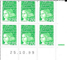Marianne De Luquet 2,70 F Vert Coin Daté 25.10.99 Bloc De 6 - 1990-1999