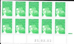Marianne De Luquet  TVP  Vert Coin Daté 21.02.03 Bloc De 10 - 2000-2009