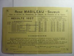 RENE MABILEAU - SAUMUR - RECOLTE DE 1927 - LISTE ET PRIX DE VINS DU SAUMUROIS ANJOU TOURAINE ET CENTRE - 1900 – 1949