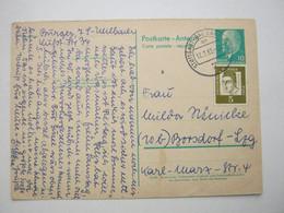 1963 , Ganzsache Als Antwortkarte Aus  Stuttgart - Postales - Usados