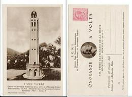 Italia Intero Postale Commemorativo 1927 Onoranze A Volta Faro S. Maurizio Como - Stamped Stationery
