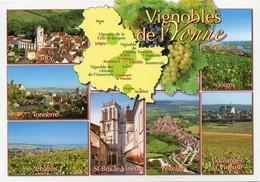 Carte Géographique - 89 Vignobles De L'YONNE. Irancy, Vézelay, Joigny, St-Bris Le Vineux, Tonnerre, Chablis, Coulanges - Landkaarten