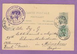 VOLAPÜKAKLUB DE GAND. ENTIER POSTAL AVEC REPONSE(1ERE PARTIE) ET AVEC AFFRANCHISSEMENT COMPLEMENTAIRE POUR MUNICH. - Postcards [1871-09]