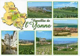 Carte Géographique - 89 Vignobles De L'YONNE. Irancy, Vézelay, Joigny, St-Bris, Tonnerre, Chablis, Coulanges La Vineuse - Landkaarten
