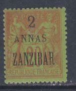 Zanzibar N° 23 X : 2 Annas  Sur 20 C. Brique Sur Vert Trace De Charnière Sinon TB - Unused Stamps