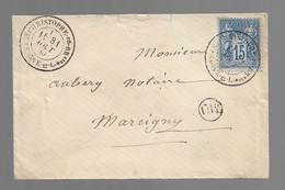 """St CHRISTOPHE En BRIONNAIS  : 1880 :   Cachet à Date  Type 20 + Cachet """" OR """"  :   Saône & Loire  : - 1877-1920: Periodo Semi Moderno"""