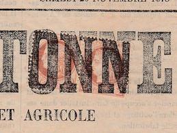 """St Brieuc- N°51 En Paire- Annulation Typo - Sur Journal """" L'INDEPENDANCE BRETONNE """" 20 Nov. 1875 - 1849-1876: Periodo Clásico"""