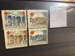 Lot De 4 Vignettes - Comite De Tulle Croix Rouge 1916 - Rode Kruis