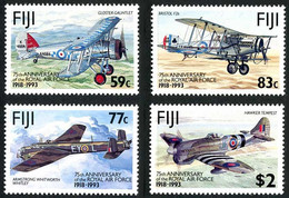 Fiji Fidji 1993 Royal Air Force RAF Gloster Gauntlet, Bristol F2b Brisfit, Hawker Tempest, Armstrong-Whitworth Whitley - Aerei