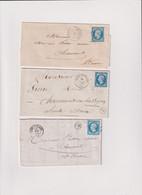 Haute-Marne- 3 Lettres TP N°14 OB De BOURMONT- N° 14 OB DE MASSY S/BLAISE-N° 14 OB DE MONTEREDER ++ - 1849-1876: Classic Period