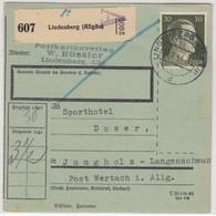 DR - 30 Pfg. AH, Paketkarte Lindenberg - Jungholz 1944 - Cartas
