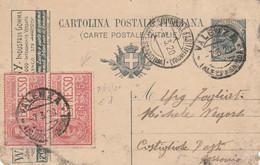 INTERO POSTALE C.15+2X25 ESPRESSO 1920 TIMBRO VALENZA ALESSANDRIA-TASSELLO COPERTO-angolo Bssso Dx Nonperfetto (HC443 - Interi Postali