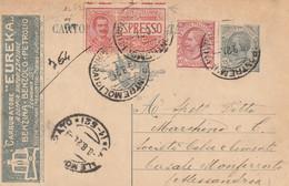 INTERO POSTALE C.15+10+ESPRESSO 50 -1920 TASSELLO CARB. EUREKA TORINO-fori Archiviazione-tentativo Riparazione (HC462 - Interi Postali