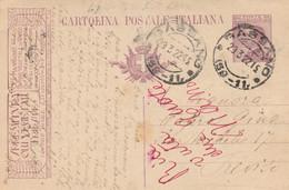 INTERO POSTALE C.25 1920 TASSELLO SPRELITURA OLI-piccola Piega Centrale-TIMBRO BASSANO (HC473 - Entero Postal