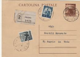 INTERO POSTALE RACCOMANDATAO L.3+5+10 TIMBRO URBINO 1947 (HC516 - Postwaardestukken