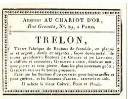 TRELON ATTENANT AU CHARIOT D'OR . PARIS .BOUTONS GRELOTS . ACHAT VIEUX CUIVRE,ETAIN - Reclame