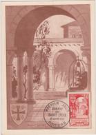 FRANCE 1952 CARTE MAXIMUM FDC 1er Jour Abbaye Ste Croix Poitiers N°YT 926 Cachet 1er Jour Poitiers 21.6 1952 - 1950-59