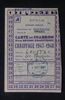 FRANCE - Carte De Charbon De La Ville De Bordeaux En 1947/48 - L 88109 - Collezioni