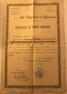 Militaria - 156e Régiment D'Infanterie - Certificat De Bonne Conduite Au Soldat Girandier à Toul En 1910 - Documenten