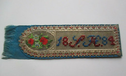 Old Unique Bookmark,Handmade,Needlework,Embroidery,Cross Stitch,Wool,Paper,Cloth Or Fabric-Flower,Initial 1884. - Rugs, Carpets & Tapestry