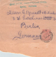 NEW SOUTH WALES - FRAGMENT WRAPPER 1906 SYDNEY > BERLIN /Q232 - Briefe U. Dokumente