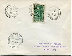 ALGERIE LETTRE DEPART FOIRE COMMERCIALE D'ALGER 9-4-38 ALGER POUR LA FRANCE - Cartas