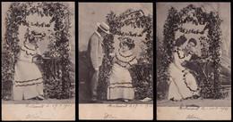 SERIE DE 8 X CPA - - AMOUR SOUS LA TONNELLE  -  LOVE UNDER THE ARBOR - AJOUTIS BRILLANTS - ART NOUVEAU - Unclassified